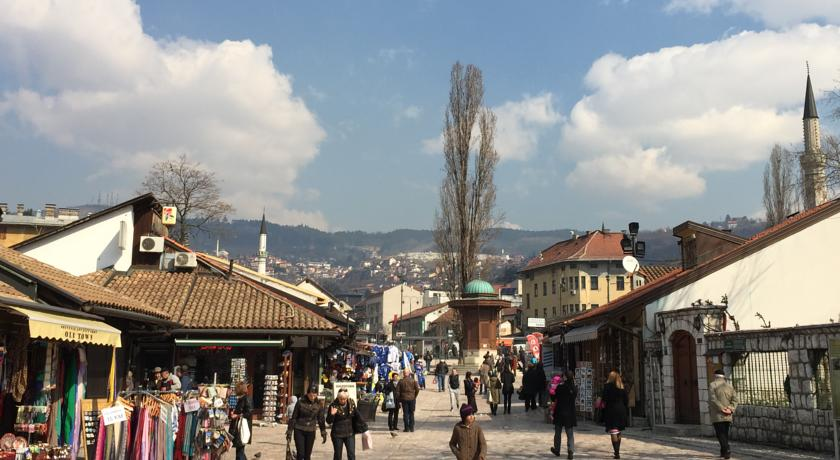 Old town of Sarajevo with markets