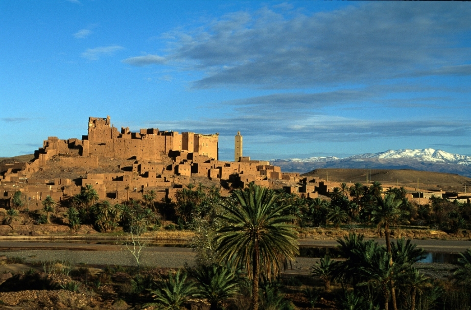 Ait Ben Haddou from across the river - www.visitmorocco.com/Moroccan National Tourist Office. Copyright is retained by the Moroccan National Tourist Office, all rights reserved.