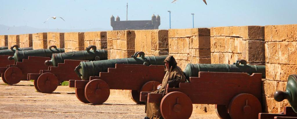 Cannons guarding the sea walls in Essaouira