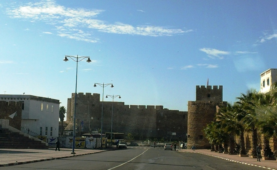 Safi town centre, approaching castle by the sea.