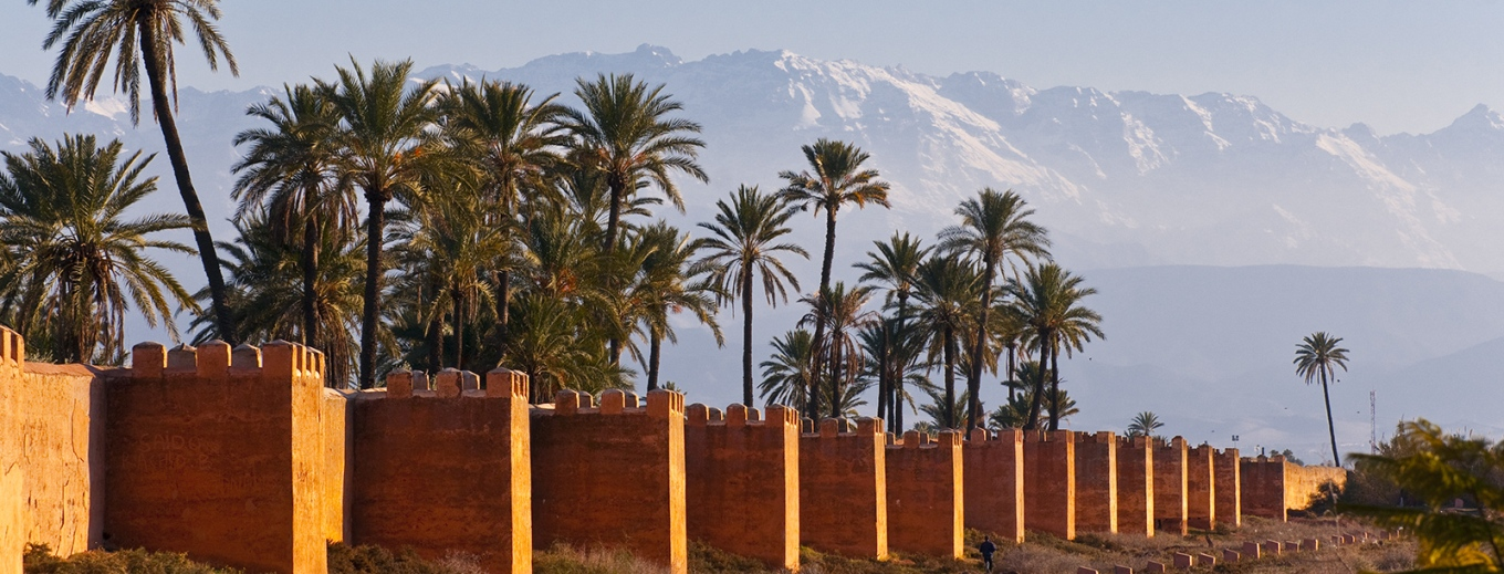Marrakech city Walls with High Atlas in background