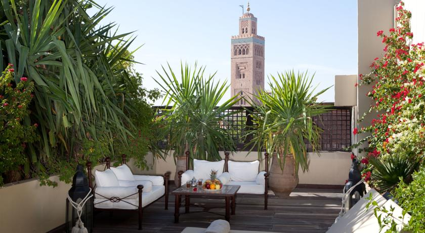 View of Koutoubia Mosque from terrace of Les Jardins de la Koutoubia