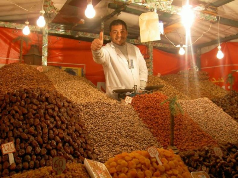 Fruit and nut stall in Marrakech souk
