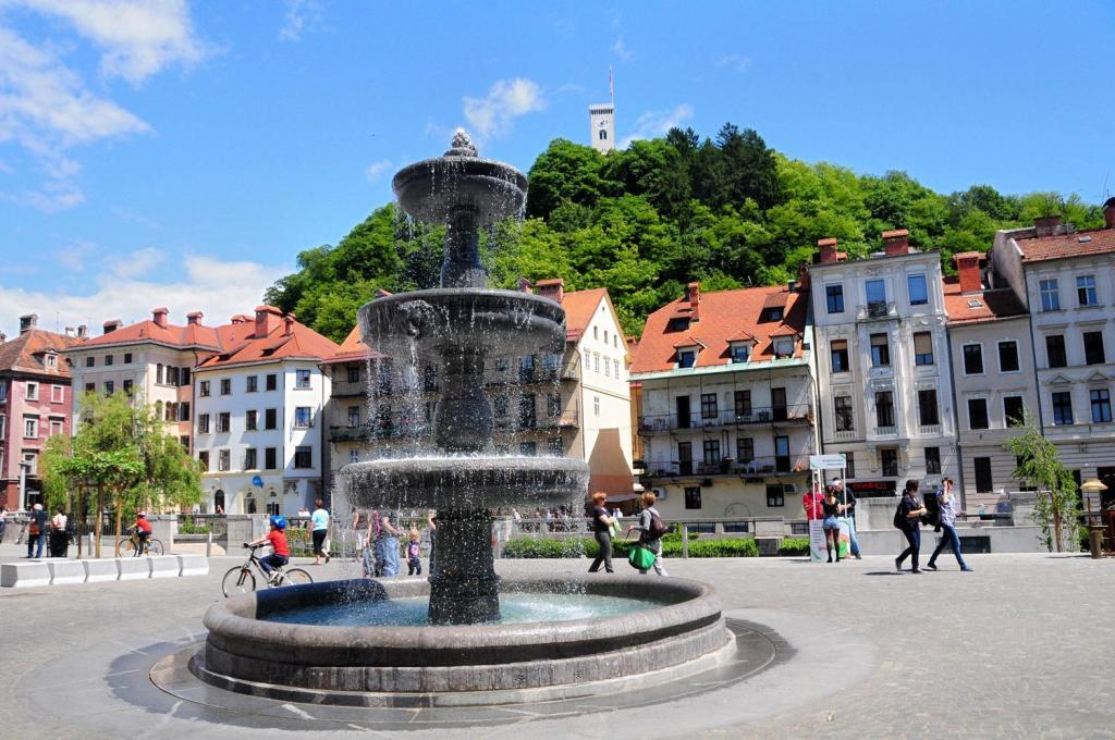Ljubljana, fountain with castle in background.